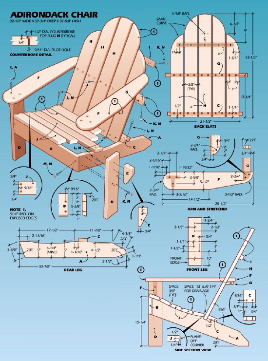 adirondack chair plans table