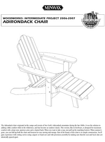 adirondack chair plans minwax