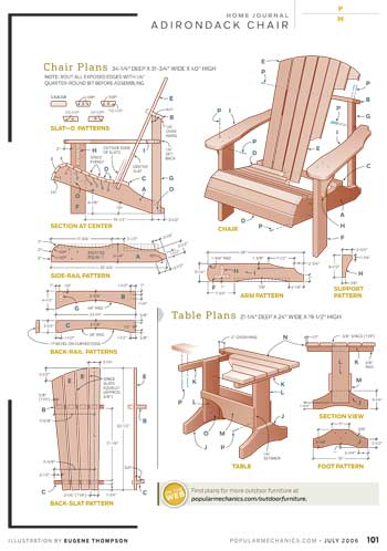 adirondack chair and table woodworking plan